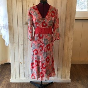 Adrianna Papell silk floral red white dress NWOT 8